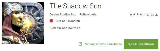 The Shadow Sun (Android) kostenlos statt 1,09€
