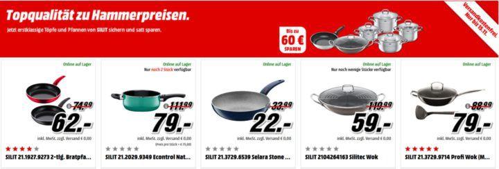 Bis Mitternacht! Günstige Silit Pfannen und Töpfe beim Media Markt   z.B. Toskana Topf Set 4 teilig für 65€ (statt 78€)