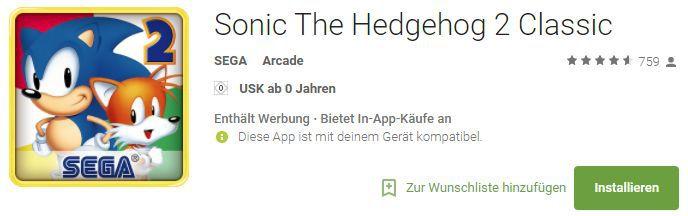 Sonic The Hedgehog 2 Classic (Android, iOS) gratis statt 3,49€