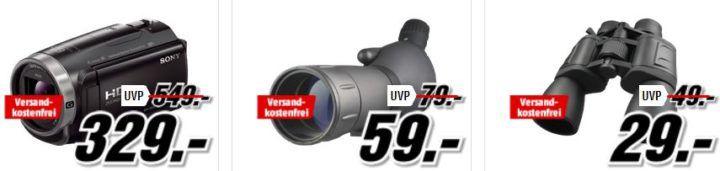 Media Markt Foto Late Night: z.B. SONY HDR CX625 Camcorder 30 fach für statt 399€ für 329€