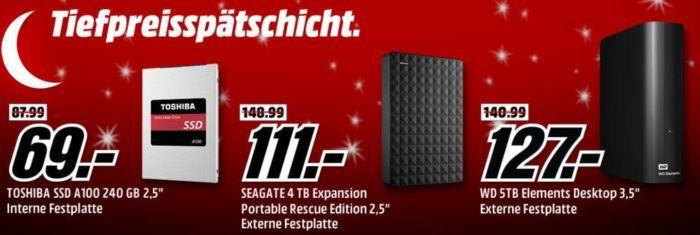 Media Markt Speicher Tiefpreisspätschicht: z.B. TOSHIBA 240 GB SSD statt 89€ für 69, €