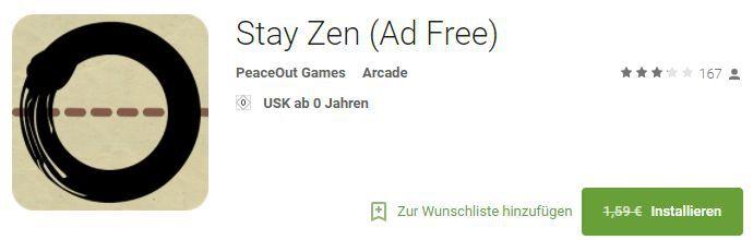 Stay Zen (Android) gratis statt 1,59€
