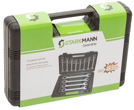STARKMANN Greenline 12 teiliger Gabelschlüssel Satz + Ratschenfunktion für 24,99€ (statt 30€)