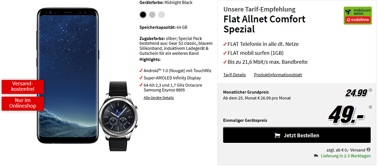 Knaller! Galaxy S8 + Galaxy Gear S3 Blue X Edition + zusätzliches Band für 49€ (statt 809€) + Vodafone Flat mit 1 GB für 24,99€ mtl.