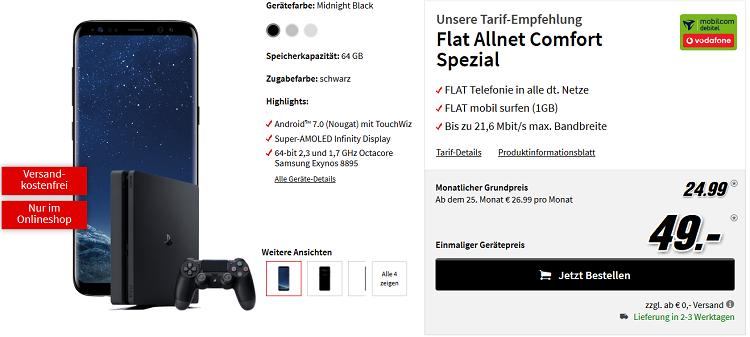 Samsung Galaxy S8 + PlayStation 4 Slim (500 GB) für 49€ + Vodafone Allnet Flat mit 1 GB Datenvolumen für 24,99€ mtl.