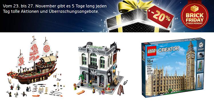 LEGO Brick Friday mit 20% Rabatt auf ausgewählte Sets   z.B. Steine Bank für 119,99€ (statt 149€)