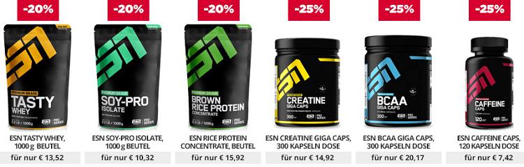 Fitmart: 20% auf ESN Whey Proteine und 25% Rabatt auf ESN Kapseln