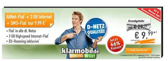 Vodafone AllNet & SMS Flat + 3GB Daten für nur 9,99€ mtl.