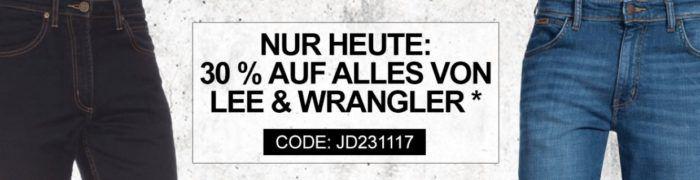 Nur Heute! Jeans Direct mit 30% extra Rabatt auf ausgewählte Lee + Wrangler Fashion