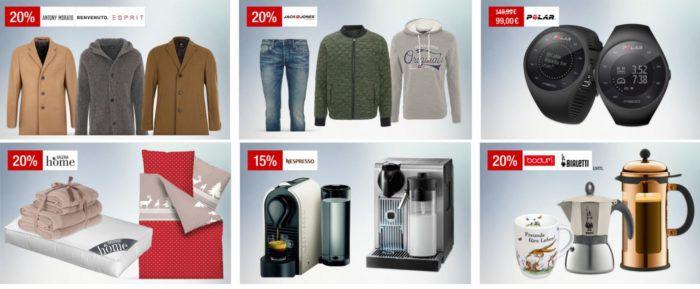 Galeria Kaufhof Sonntagsangebote   z.B. 20% auf Herrenmäntel, Jack & Jones   15% auf Nespresso!