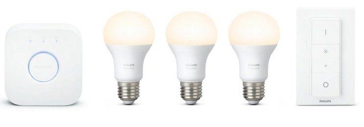 Philips Hue Starterkit White 3 x E27 Leuchten mit Bridge und Schalter ab 57,98€ (statt 75€)