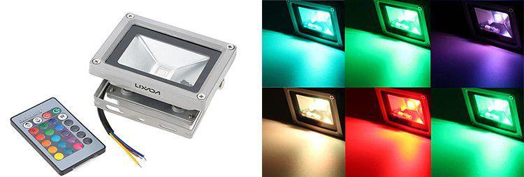 Lixada 10W RGB LED Flutlicht mit Fernbedienung für Innen & Außen für 8,87€ (statt 13€)