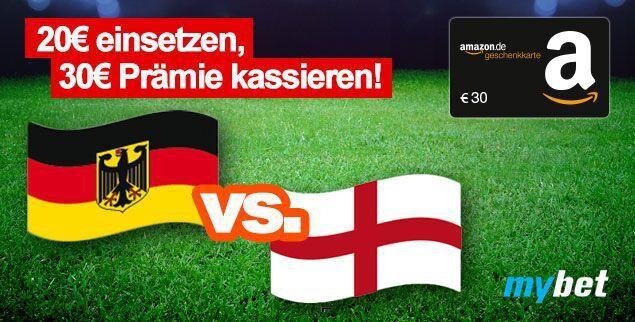 Bonus Deal: 20€ Wetteinsatz bei mybet und 30€ Amazon Gutschein* erhalten