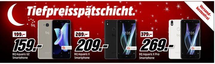 Media Markt BQ Smartphone Tiefpreisspätschicht   z.B. BQ Aquaris V Plus 32 GB für 219€