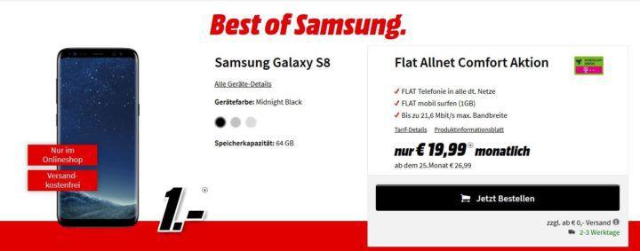 Top! Media Markt Best of Samsung Aktion: Samsung S8 + Bundles mit Telekom Verträgen ab 1€ und 19,99€ mtl.
