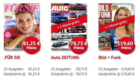 Knaller! Zeitschriften Abos mit sehr hohen Scheck Prämien + gratis Schnupper Abo
