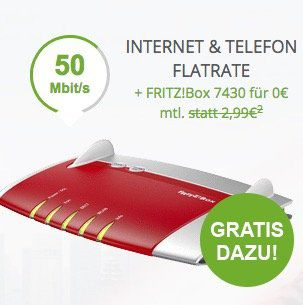 Knaller! Vodafone RED DSL 50 für eff. 19,58€ mtl. + gratis Fritzbox 7430