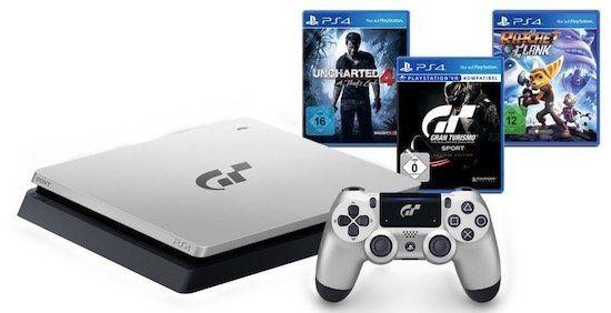 Playstation 4 1TB GT Sport Limited Edition in Silber + 3 Spiele + Sky Supersport Monatsticket für 254,99€