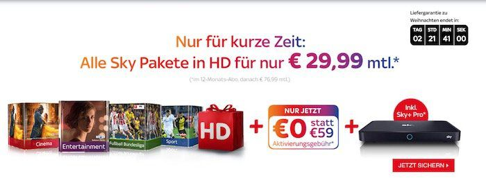 Sky komplett (Entertainment, Buli, Sport, Cinema) + HD Paket + UHD Pro Receiver nur 29,99€ mtl.