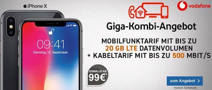 iPhone X für 99€ + Vodafone Red M mit 14GB LTE + Vodafone Red DSL mit 500 Mbit/s für 76,40€ mtl.