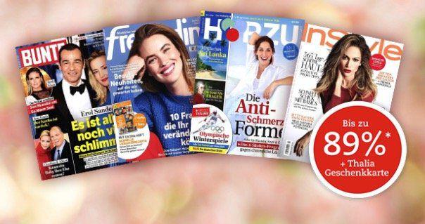 Knaller! Zeitschriften Abos mit Thalia Gutscheinprämien   z.B. 1 Jahr Bunte nur 19,90€+ 15€ Gutschein