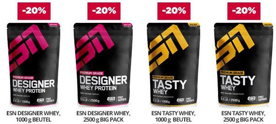 20% auf ESN Proteine oder auf Superfoods bei Fitmart   z.B. 4kg ESN Whey nur 60,48€ (statt 72€)