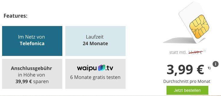 o2 Smart Surf mit 1GB LTE für 3,99€ mtl. + 6 Monate Waipu TV gratis (Wert 60€)