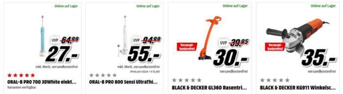 Media Markt Mega Marken Sparen: günstiges von Black+Decker, Oral B, Tefal und WMF