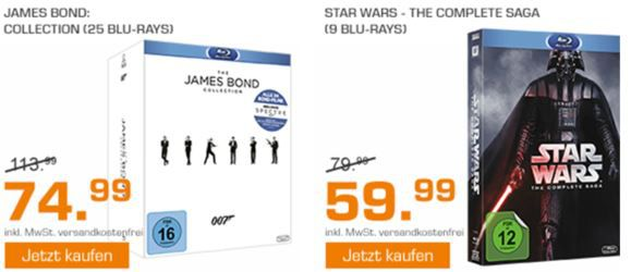 Saturn Weekend Sale: z.B. Bond Collection 2016 für 74,99   Lost Die komplette Serie für 29,99€