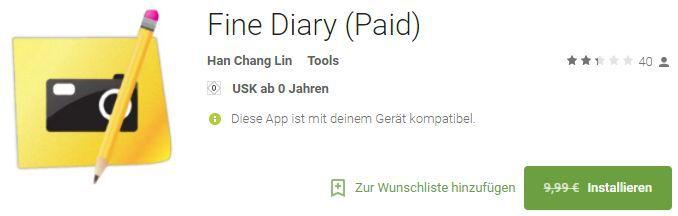 Fine Diary (Android) gratis statt 9,99€