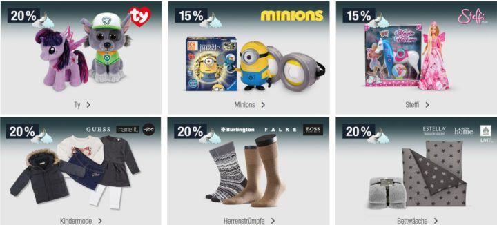 15% Rabatt auf Minions & Steffi Spielwaren 20% auf Marken Sportfashion uvm.   Galeria Kaufhof Mondschein Angebote