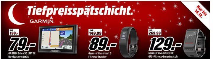 Media Markt Garmin Tiefpreisspätschicht: günstige Smartwatchs, Tracker und Navis