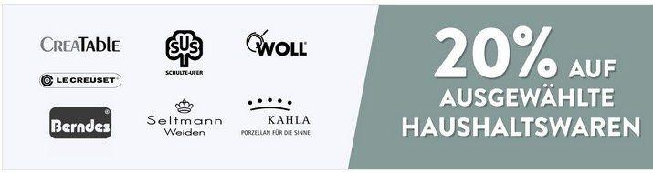 Galeria Kaufhof heute mit 20% Rabatt auf ausgewählte Haushaltswaren