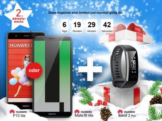 Huawei P10 light + Smartwatch Huawei Band 2 Pro + O2 Smart Surf 50Min./SMS +1 GB Daten ab 12,03€ mtl.