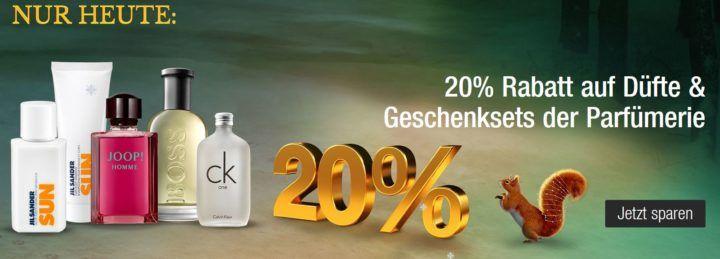 Galeria Kaufhof heute mit 20% Rabatt auf Düfte & Geschenksets der Parfümerie