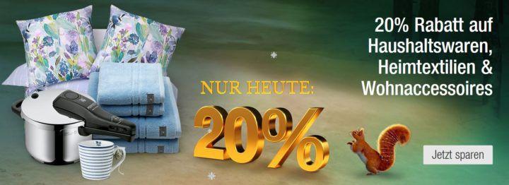 Galeria Kaufhof heute mit 20% Rabatt auf Haushaltswaren, Heimtextilien & Wohnaccessoires