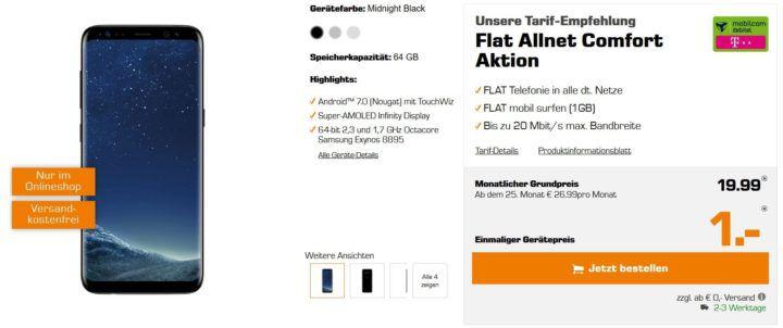 Top! Samsung S8 für 1€ + Telekom AllNet Flat + 1GB Daten für nur 19,99€ mtl.