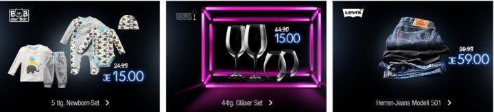 Kaufhof Adventskalender heute: 5 teiliges Newborn Set für für 15€   Levis Herren Jeans Modell 501 für 59€   RIEDEL Gläser Set für 15€
