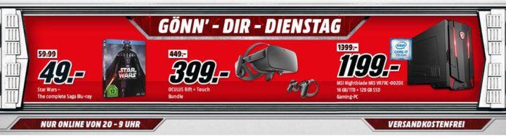 Star Wars: Saga 1 6 [Blu ray] für 49, €   OCULUS Rift Virtual Reality Headset für 399€ uvm. im Media Markt Dienstag Sale