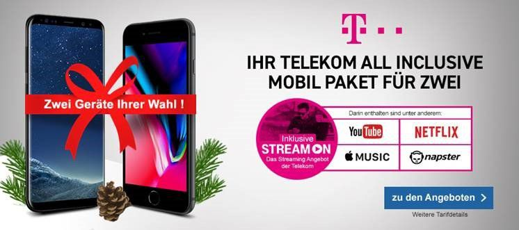 2 x iPhone 8 + 2 x Magenta M Allnet & SMS Flat + 4GB LTE + StreamOn + Hotspot für zusammen 100,19€ mtl.