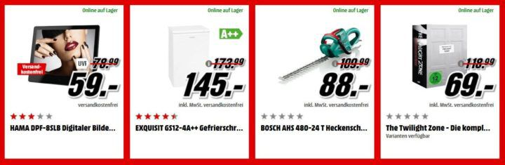 Media Markt Adventskalender Tag 15: z.B. EXQUISIT GS12 4A++ Gefrierschrank für 145€