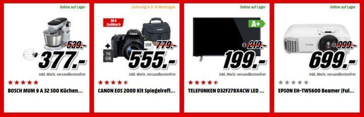 Media Markt Adventskalender Tag 16: z.B. EPSON EH TW5600 Beamer statt 818€ für 699€