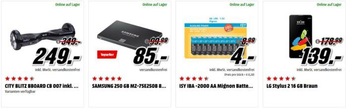Media Markt Adventskalender Tag 7: z.B. SAMSUNG 850 EVO SSD 250GB für 85€