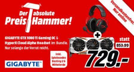 GIGABYTE GeForce GTX 1080 Ti + HYPERX Gaming Headset + Destiny 2 & Mittelerde PC für 729€