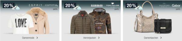 20% auf ausgewählte Damen Mode, Herrenjacken, Sportfashion uvm.   Galeria Kaufhof Mondschein Angebote