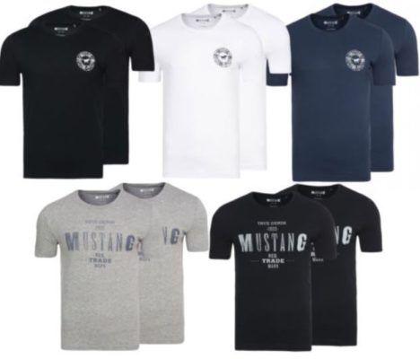 MUSTANG Herren Rundhals T Shirts  im Doppelpack für 17,99€