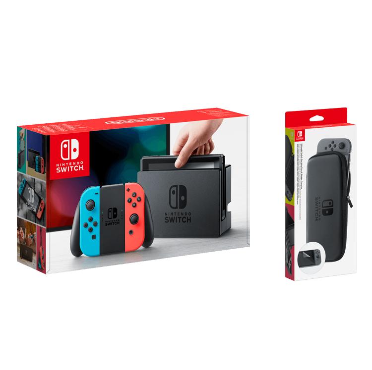 Nintendo Switch Neon Rot / Neon Blau mit Tasche und Schutzfolie für 319€