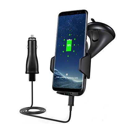 Qi Handyhalterung mit Quick Charge & Saugnapf für 13,44€