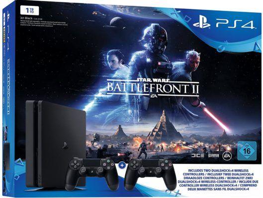 Playstation 4 Slim 1 TB + 2. Controller + Star Wars Battlefront 2 für 299€ (statt 361€)