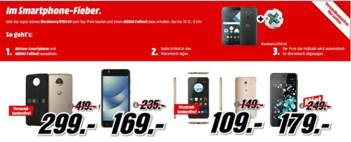 Media Markt Smartphone Fieber + Adidas Fußball: z.B. MOTOROLA Moto Z2 Play + JBL SoundBoost 2 für 299€ oder ab 254,15€